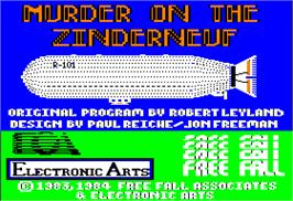 Title screen of Murder on the Zinderneuf on the Apple II.