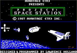 Title screen of Project: Space Station on the Apple II.