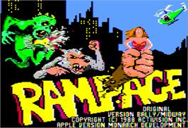Title screen of Rampage on the Apple II.