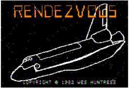 Title screen of Rendezvous: A Space Shuttle Flight Simulation on the Apple II.