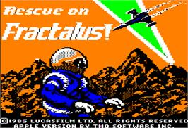 Title screen of Rescue on Fractalus on the Apple II.