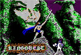 Title screen of Ring Quest on the Apple II.