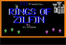 Title screen of Rings of Zilfin on the Apple II.