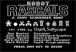 Title screen of Robot Rascals on the Apple II.