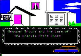 Title screen of Snooper Troops (Case 2): The Disappearing Dolphin on the Apple II.
