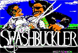 Title screen of Swashbuckler on the Apple II.