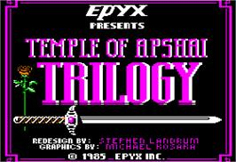 Title screen of Temple of Apshai Trilogy on the Apple II.