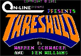 Title screen of Threshold on the Apple II.