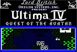 Title screen of Ultima IV: Quest of the Avatar on the Apple II.