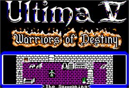 Title screen of Ultima V: Warriors of Destiny on the Apple II.