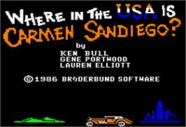 Title screen of Where in the USA is Carmen Sandiego on the Apple II.