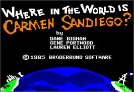 Title screen of Where in the World is Carmen Sandiego on the Apple II.