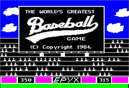 Title screen of World's Greatest Baseball Game on the Apple II.