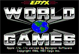 Title screen of World Games on the Apple II.