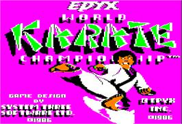 Title screen of World Karate Championship on the Apple II.