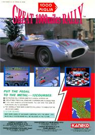 Advert for 1000 Miglia: Great 1000 Miles Rally on the Arcade.