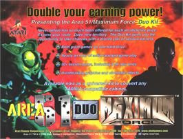 Advert for Area 51 / Maximum Force Duo on the Arcade.