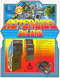 Advert for Asteroids Deluxe on the Arcade.