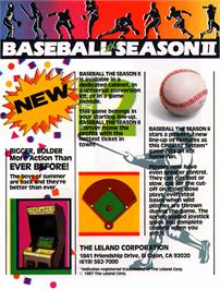 Advert for Baseball: The Season II on the Arcade.