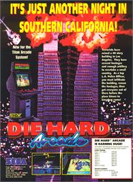 Advert for Die Hard Arcade on the Sega Saturn.