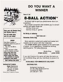Advert for Eight Ball Action on the Arcade.