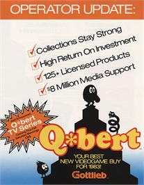 Advert for Faster, Harder, More Challenging Q*bert on the Arcade.