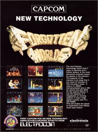Advert for Forgotten Worlds on the Arcade.