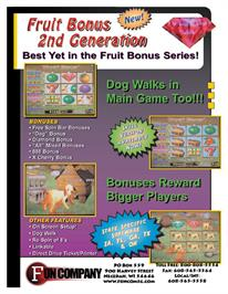 Advert for Fruit Bonus 2nd Generation on the Arcade.