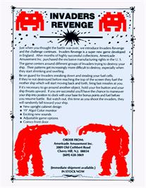 Advert for Invader's Revenge on the Arcade.
