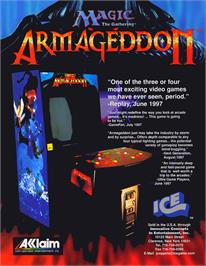 Advert for Magic the Gathering: Armageddon on the Arcade.