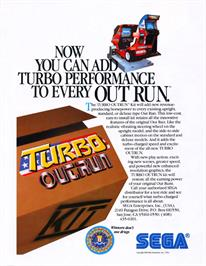Advert for Turbo Out Run on the Arcade.