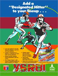 Advert for Vs. Atari R.B.I. Baseball on the Nintendo Arcade Systems.
