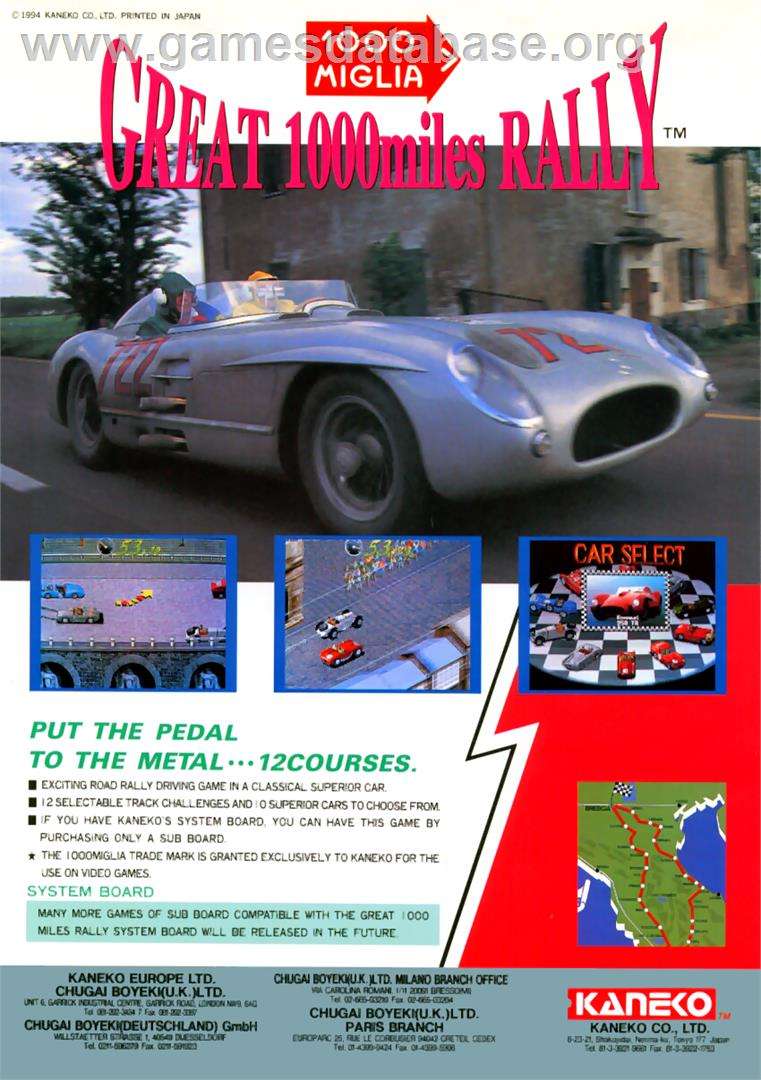 1000 Miglia: Great 1000 Miles Rally - Arcade - Artwork - Advert