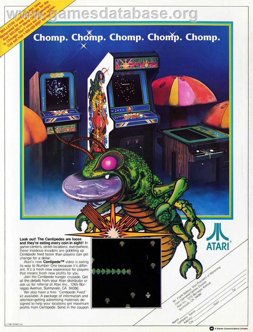 Centipede - Acorn Atom - Artwork - Advert