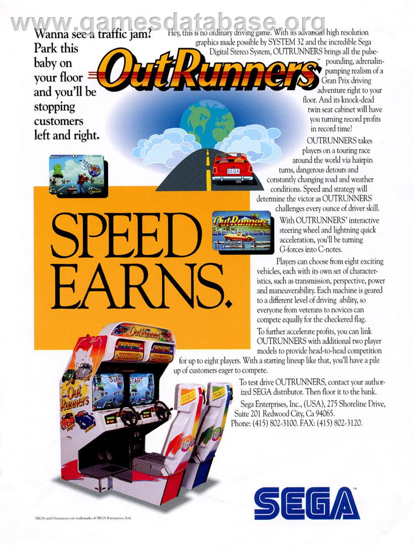 OutRunners - Arcade - Artwork - Advert