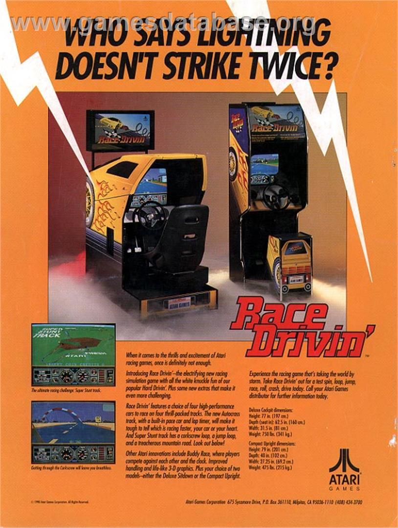 Advert for Race Drivin' on the Arcade.