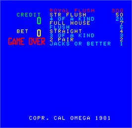 Game Over Screen for Cal Omega - Game 23.9.