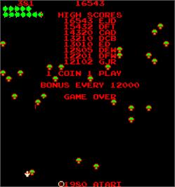 Game Over Screen for Centipede Dux.
