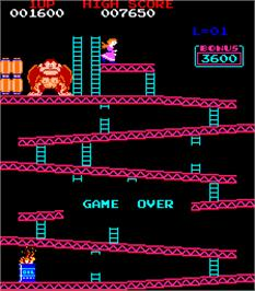 Game Over Screen for Donkey Kong Foundry.
