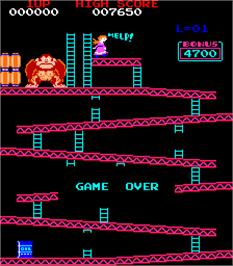 Game Over Screen for Donkey Kong II - Jumpman Returns.