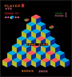 Game Over Screen for Faster, Harder, More Challenging Q*bert.
