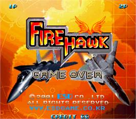 Game Over Screen for Fire Hawk.