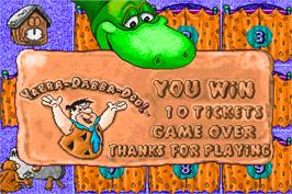 Game Over Screen for Fred Flintstones' Memory Match.
