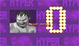 Game Over Screen for Hyper Street Fighter II: The Anniversary Edition.