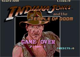 Game Over Screen for Indiana Jones and the Temple of Doom.