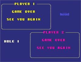 Game Over Screen for Jumbo Ozaki Super Masters Golf.