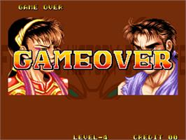 Game Over Screen for Karnov's Revenge / Fighter's History Dynamite.
