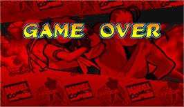 Game Over Screen for Marvel Super Heroes Vs. Street Fighter.