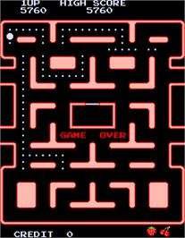 Game Over Screen for Ms. Pac-Man.