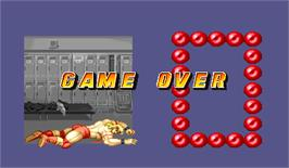 Game Over Screen for Muscle Bomber: The Body Explosion.
